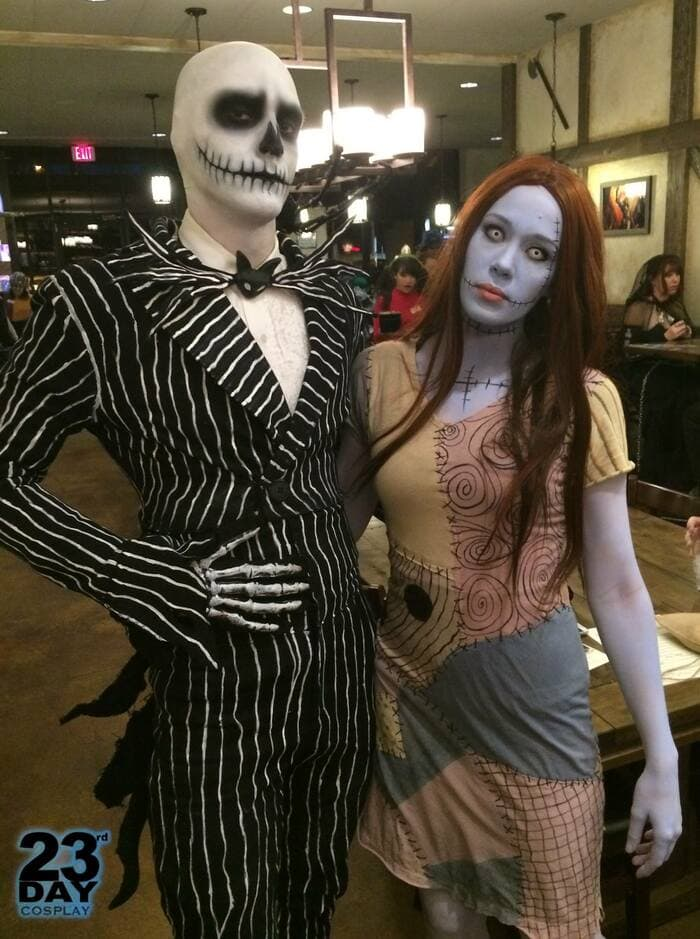funny couples costumes - Jack and Sally from Nightmare Before Christmas