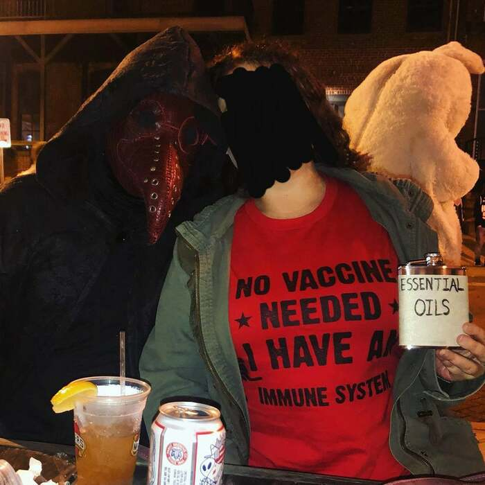 funny couples costumes - Plague Doctor and Antivaxxer