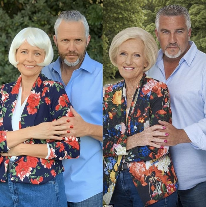 funny couples costumes - Mary Berry and Paul from Great British Bake OFf