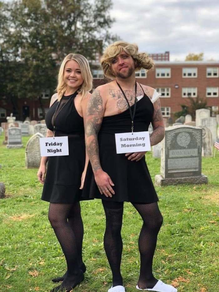 funny couples costumes - Friday night vs Saturday morning