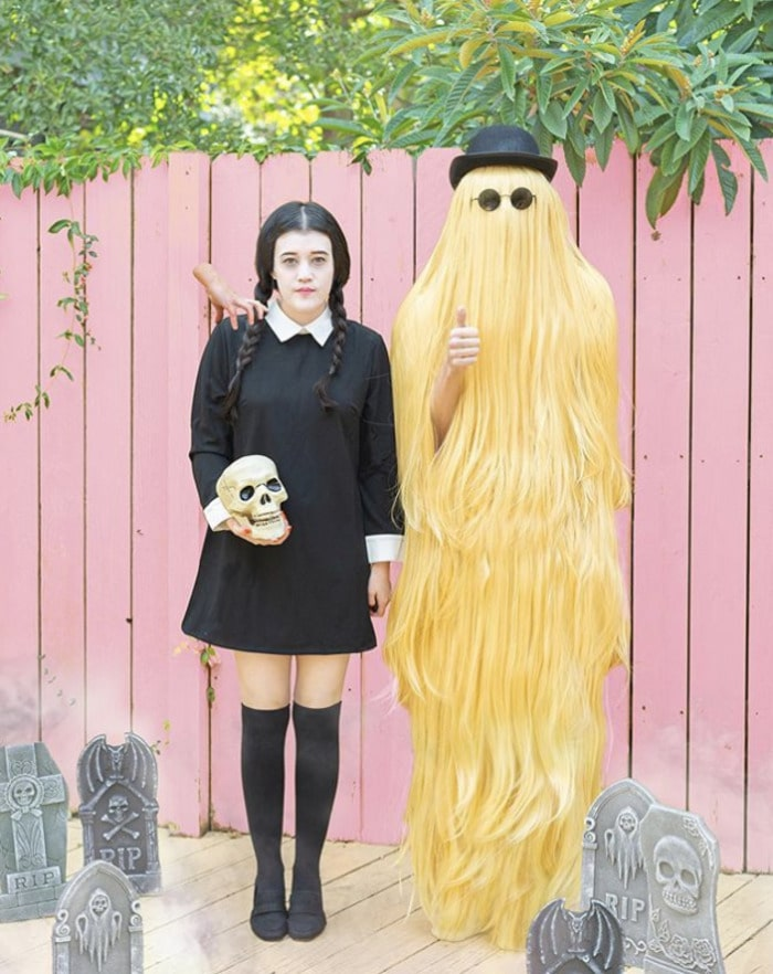 funny couples costumes - Wednesday Addams and cousin it from The Addams Family