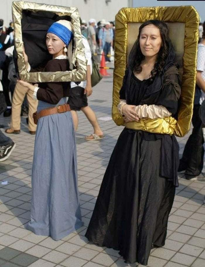 funny couples costumes - Mona Lisa and Girl with the Pearl Earrings paintings