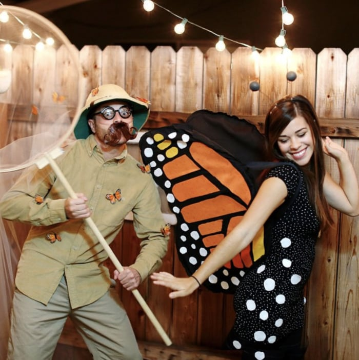 funny couples costumes - Butterfly and catcher