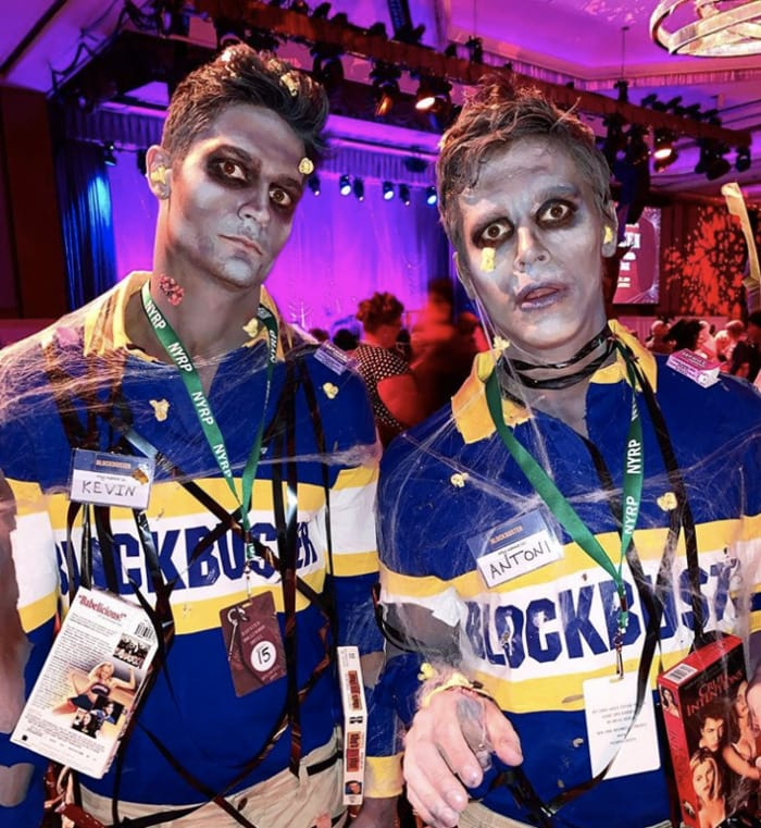 funny couples costumes - Blockbuster employees are zombies