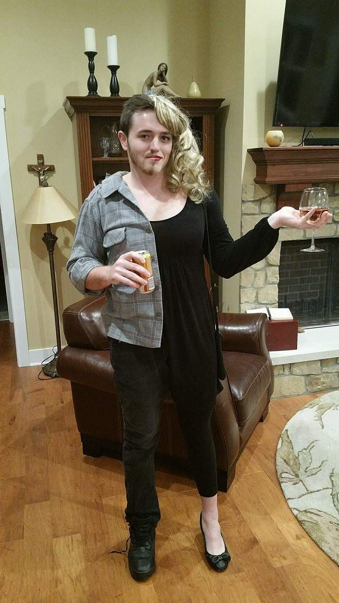 funny couples costumes - 2 in 1 costume, half male half female