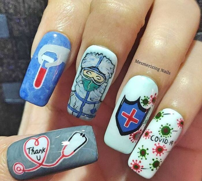 2020 Nails - Doctors and nurses thankyou covid nails