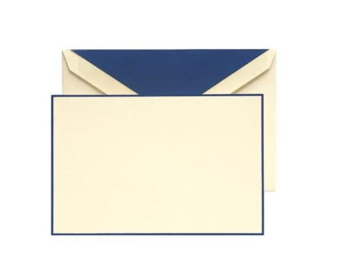 Gifts Under $25 - Crane & Co. Regent Blue Hand Bordered Ecruwhite Correspondence Cards