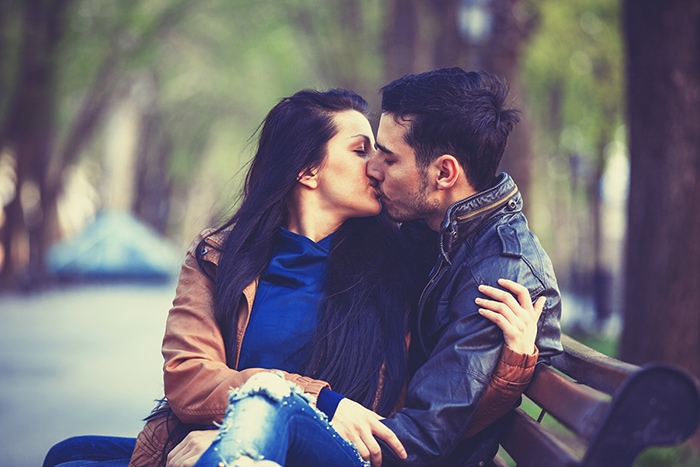 How to French Kiss - couple on a bench