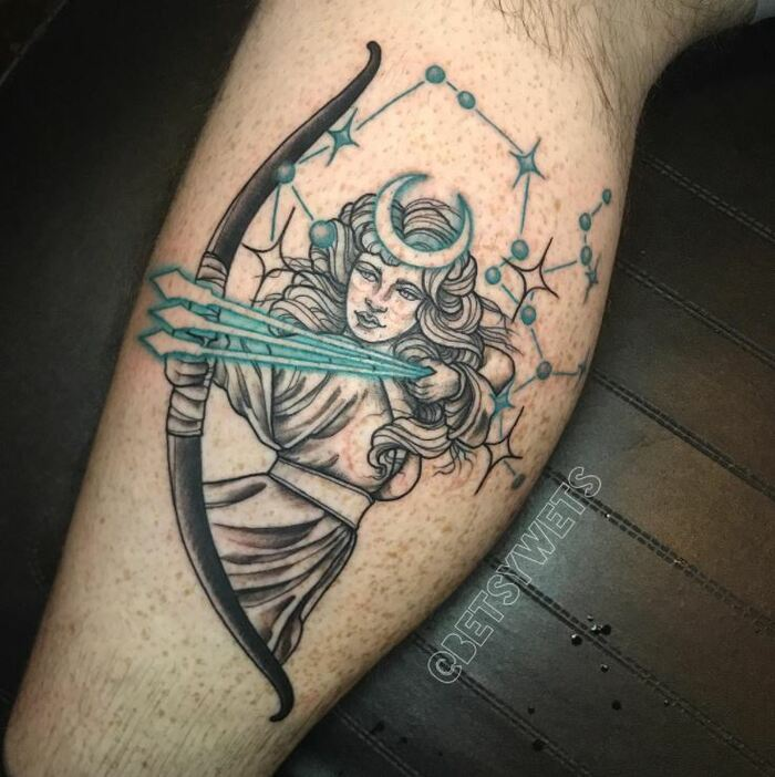 Sagittarius Tattoos - Diana with bow and arrow