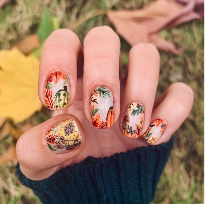 Thanksgiving Nails - Leaves