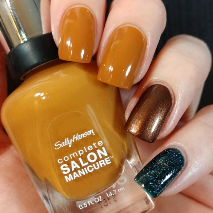 Orange Bronze and Green Nails