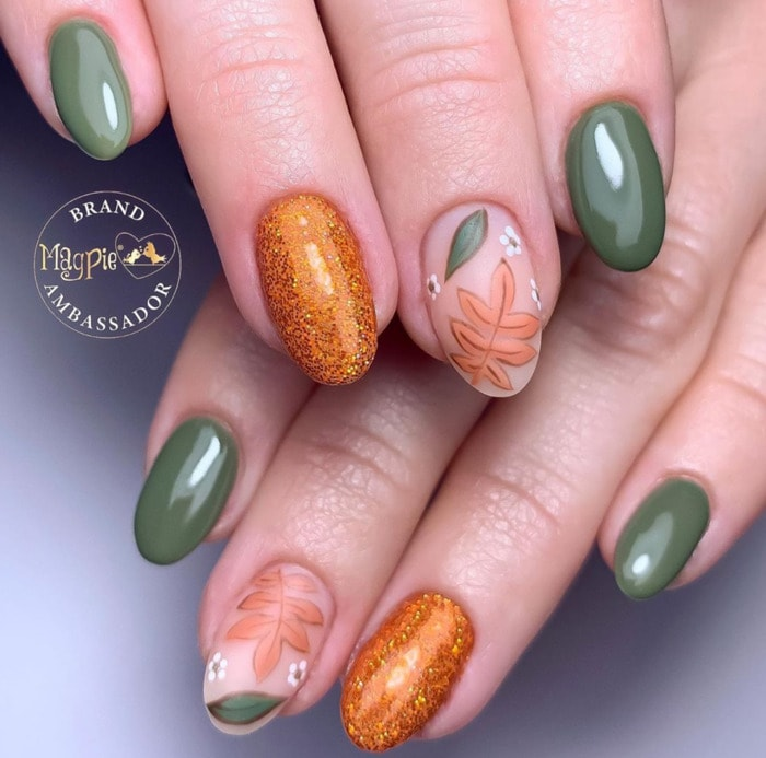 Thanksgiving Nails - Green and Gold