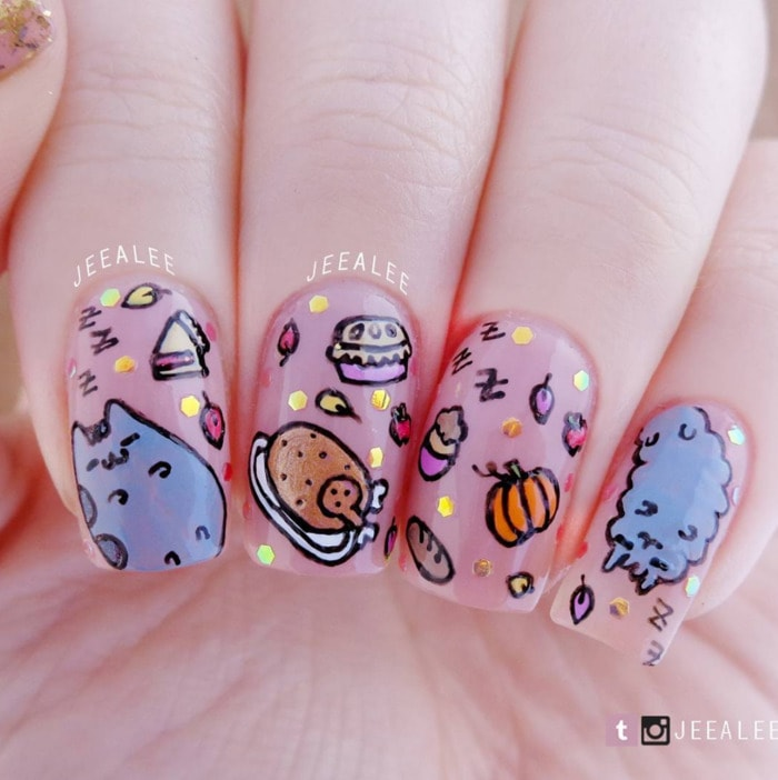 Thanksgiving Nails - Pusheen