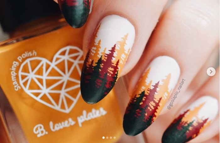 Thanksgiving Nails - Fall Trees