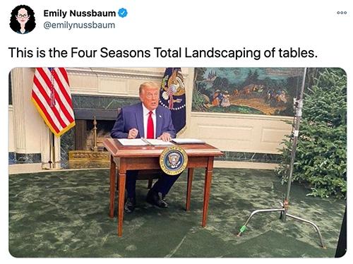 Trump Tiny Desk - four seasons total landscaping