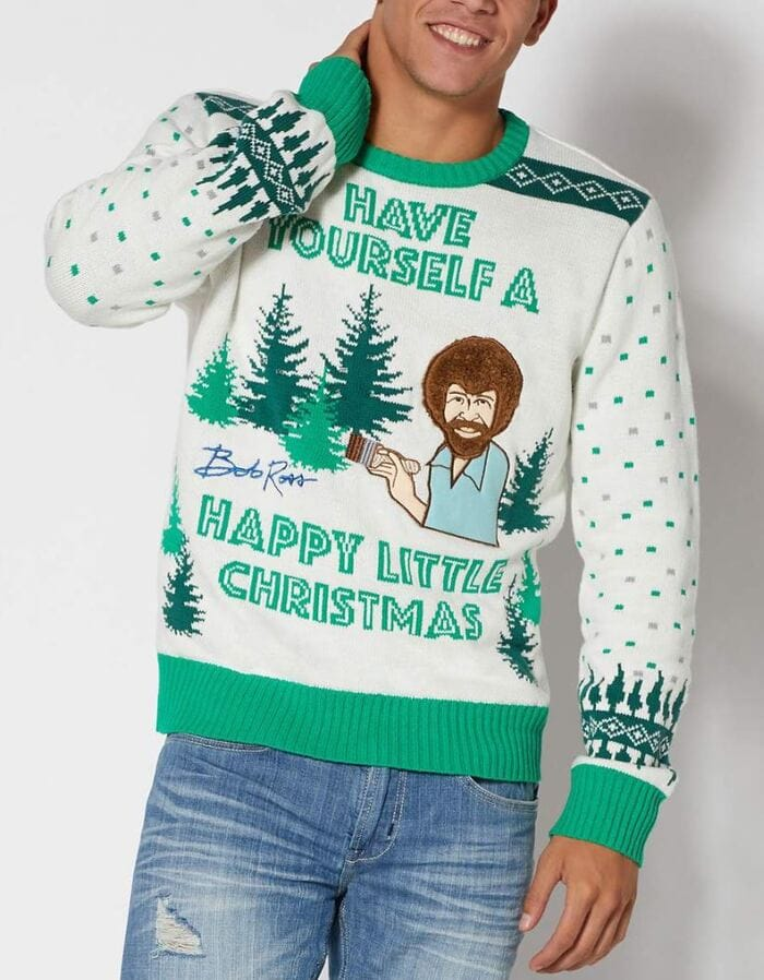 Ugly Christmas Sweaters - Have yourself a Happy little Christmas Bob Ross