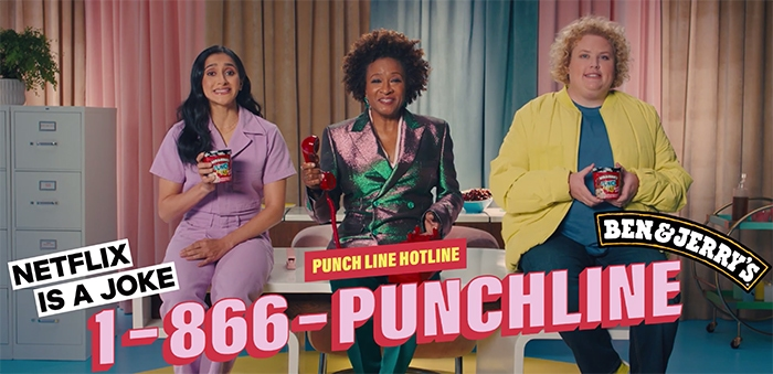 Ben & Jerry's Punch Line Netflix Ice Cream - Wanda Sykes, aparna nancherla, fortune feimster