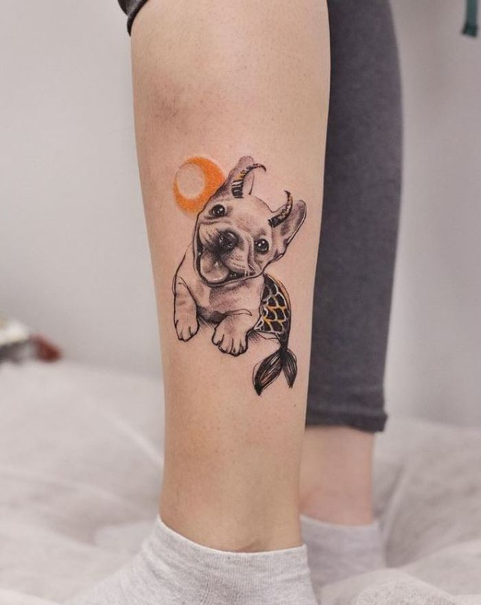 Capricorn tattoos - Cute puppy with fish tail