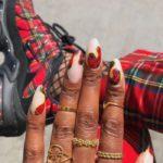 Christmas nails - Red plaid nails