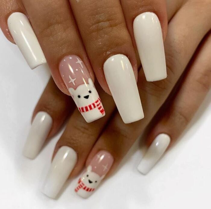 Christmas Nails - White polar bear nails