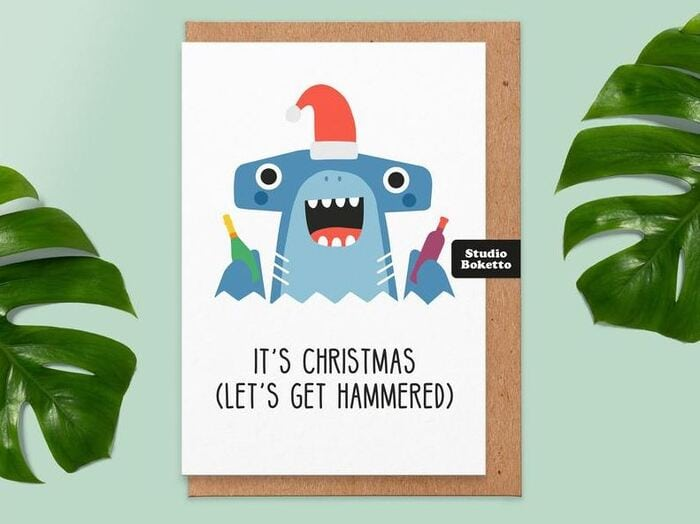 Christmas puns - Lets get hammered, hammerhead shark card