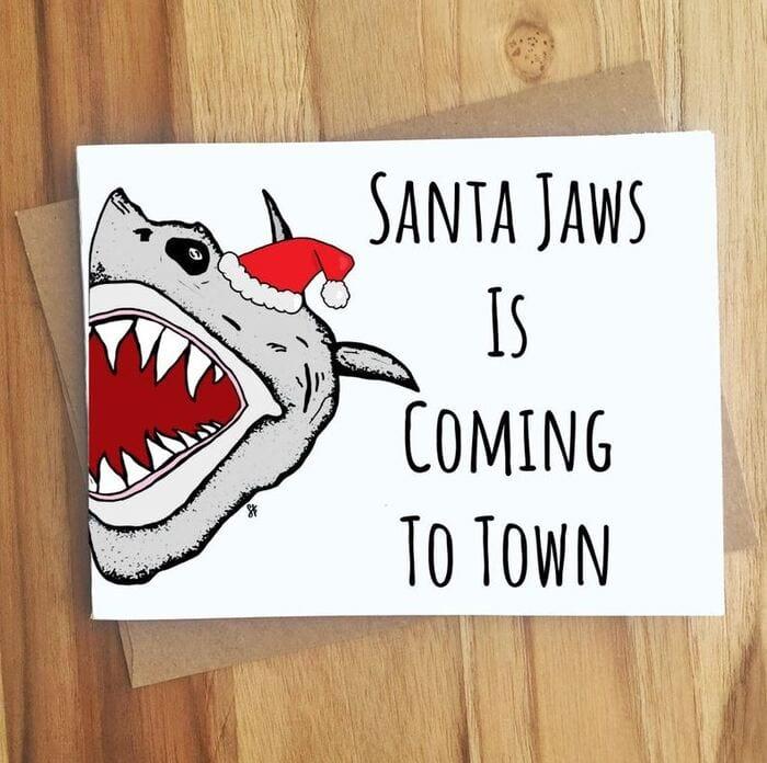 Christmas Puns - Santa Jaws is coming to town shark card