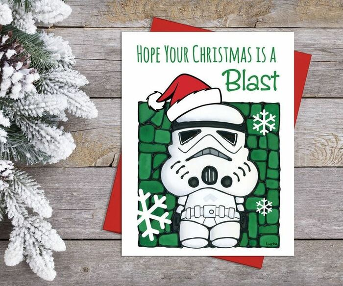 Christmas Puns - Hope your Christmas is a blast stormtrooper card