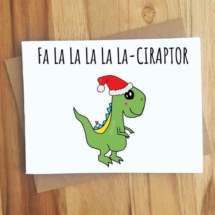 Christmas puns - F la la la Ciraptor dinosaur card