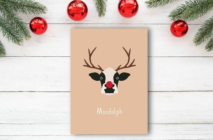 Christmas Puns - Moodolph cow