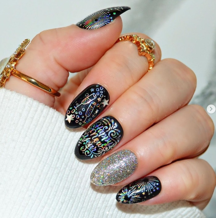 New Year's Nail Designs - Press On