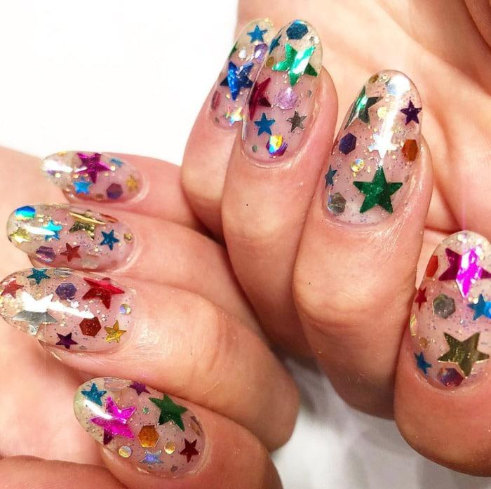 New Year's Nails - Rainbow Stars