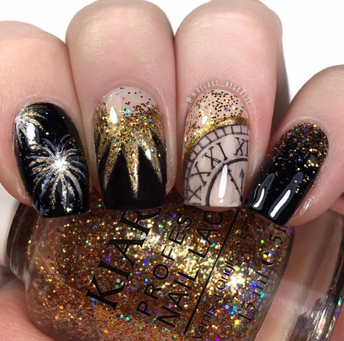 New Year's Nails - Fireworks and Clock