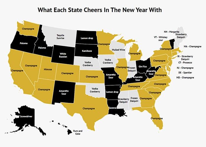 Popular New Year's Eve Drinks - Zippia Map