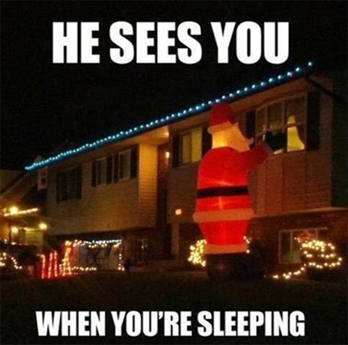 He Sees You When You're Sleeping Inflatable Santa