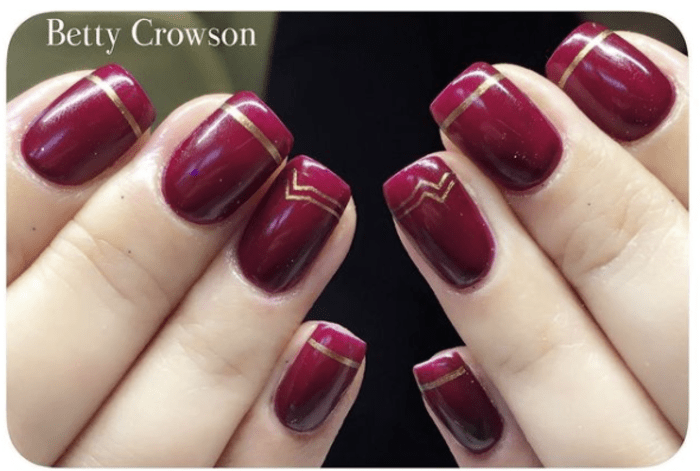 Wonder woman nails - plum purple with gold Ws stripes