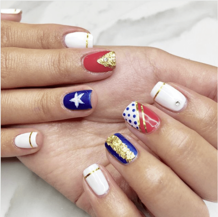Wonder woman nails - red gold and blue