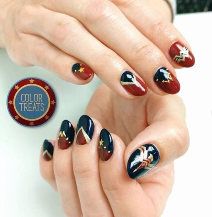 Wonder Woman Nails - red blue and gold nails