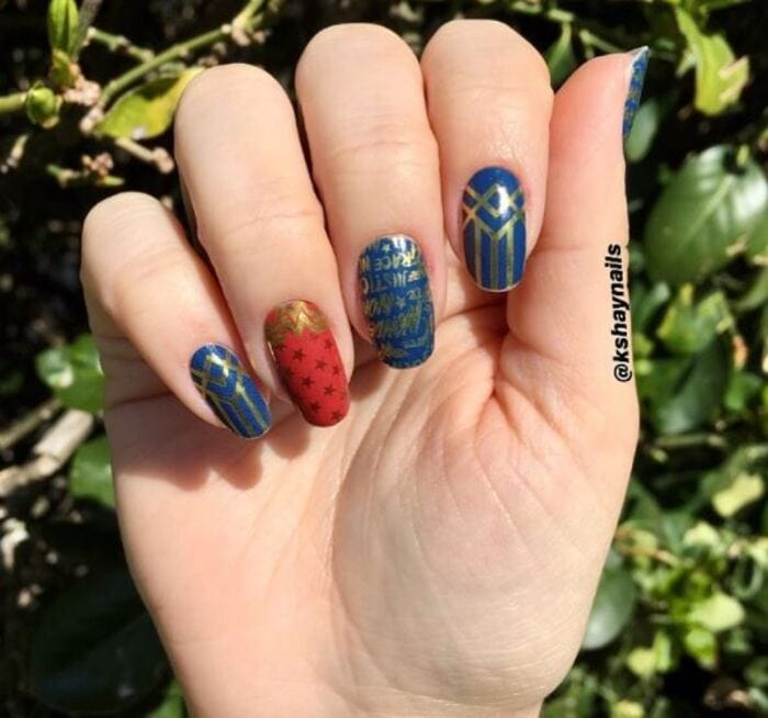 Wonder woman nails - Blue red and gold