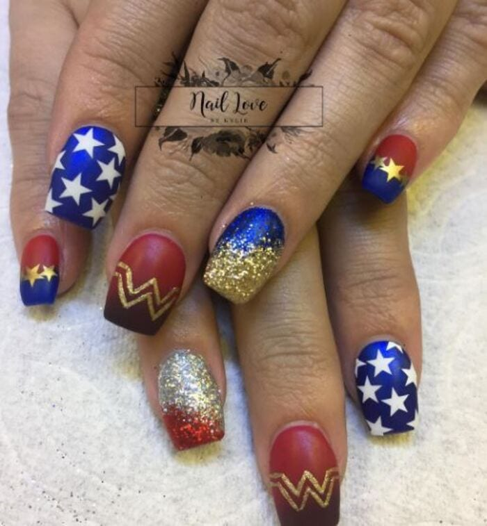 Wonder woman nails - Gold blue and red