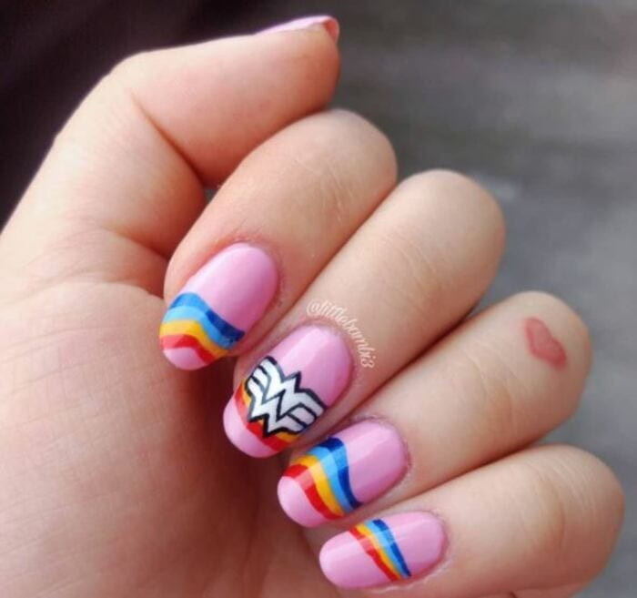Wonder woman nails - Pink with blue red and gold stripes