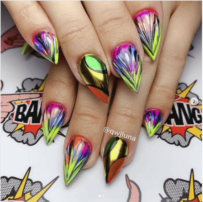 Wonder woman nails - Metallic multi coloured nails