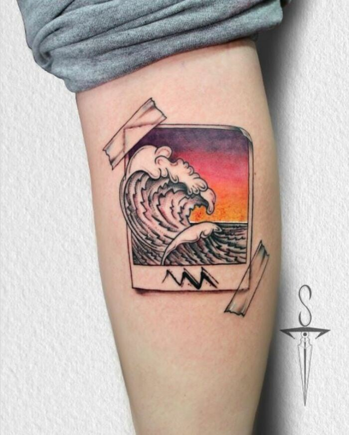 Aquarius Tattoos - Wave Polaroid and stick tape