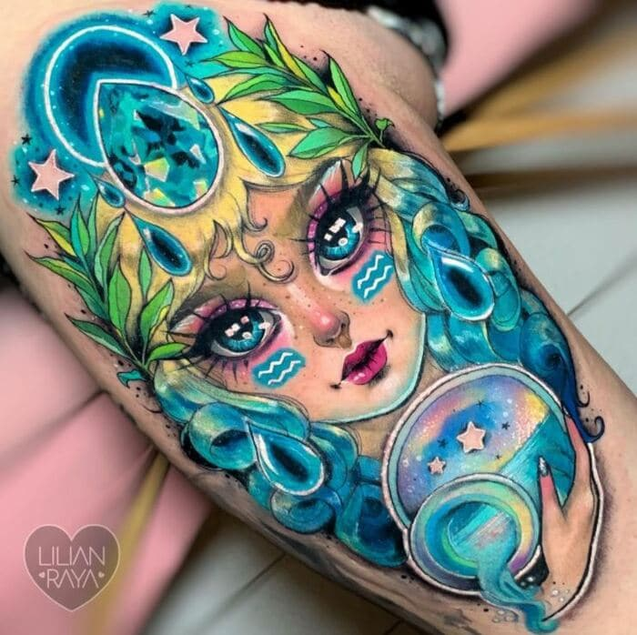 Aquarius Tattoos - vibrant water bearer tattoo