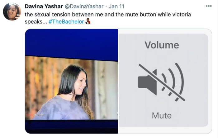 The Bachelor Tweets - Victoria mute button