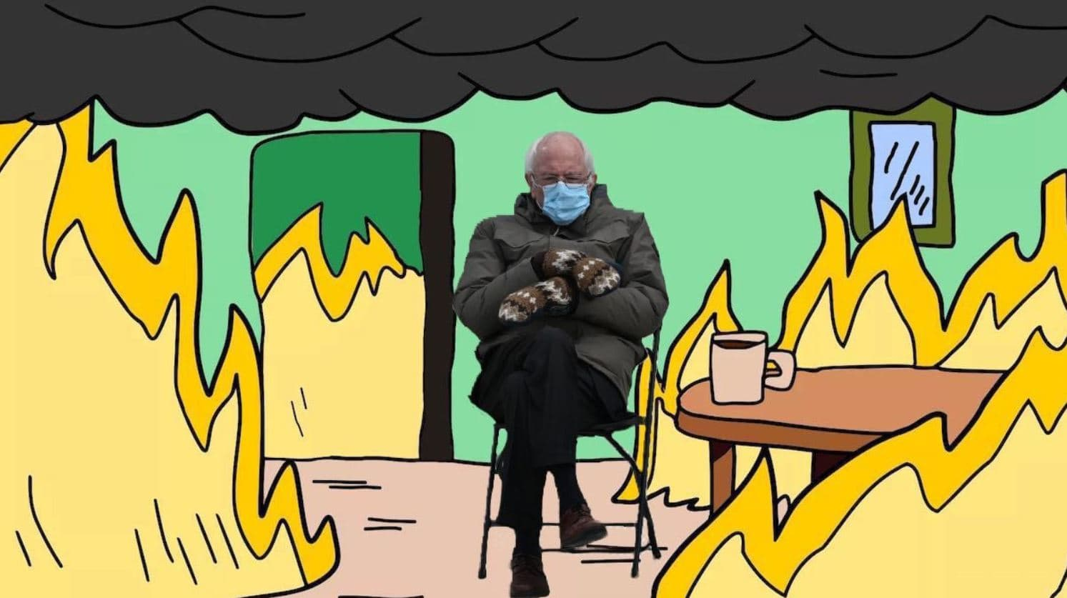 Bernie Sitting Memes - Surrounded by fire