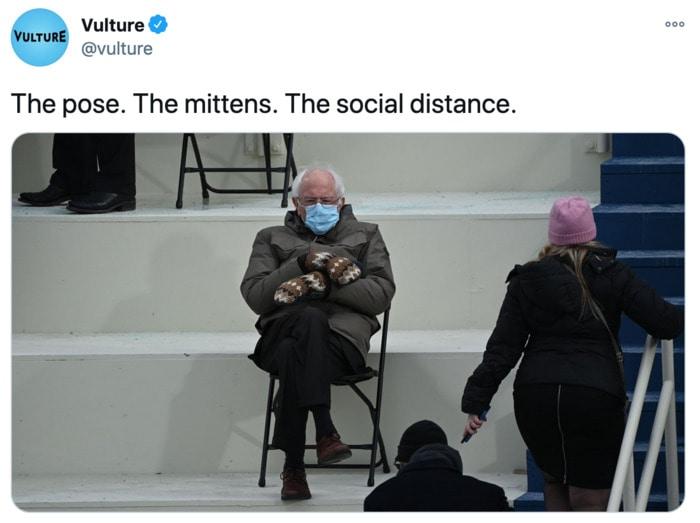 Bernie Sitting Memes - Mittens Chair VultureBernie Sitting Memes - Mittens Chair Vulture Tweet