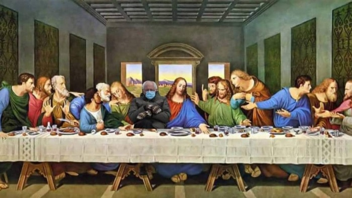 Bernie Sitting Memes - Last Supper