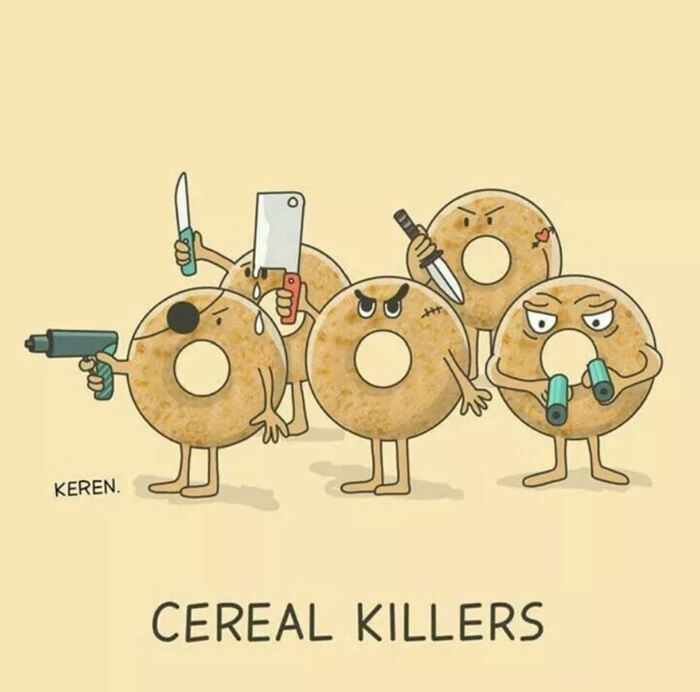 Breakfast puns - Cereal Killers, cereal with weapons