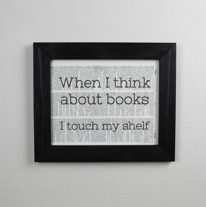 Furniture Puns - When I think about books I touch my shelf