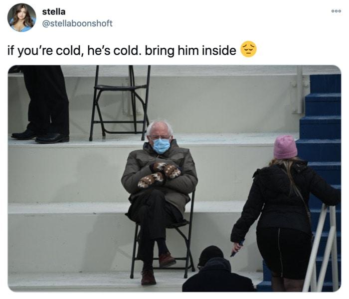 Inauguration Day Tweets Memes - Bernie cold bring him inside